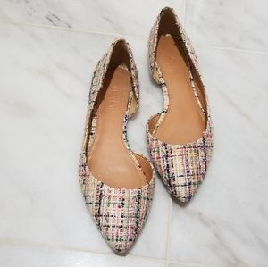 J.Crew Mixed Tweed D'Orsay Pointed Toe Flats